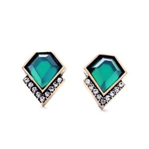 Art Deco Style Emerald Stud Earrings